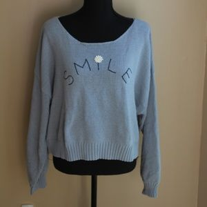 "Lauren Conrad Light Blue XXL ""Smile"" Sweater"
